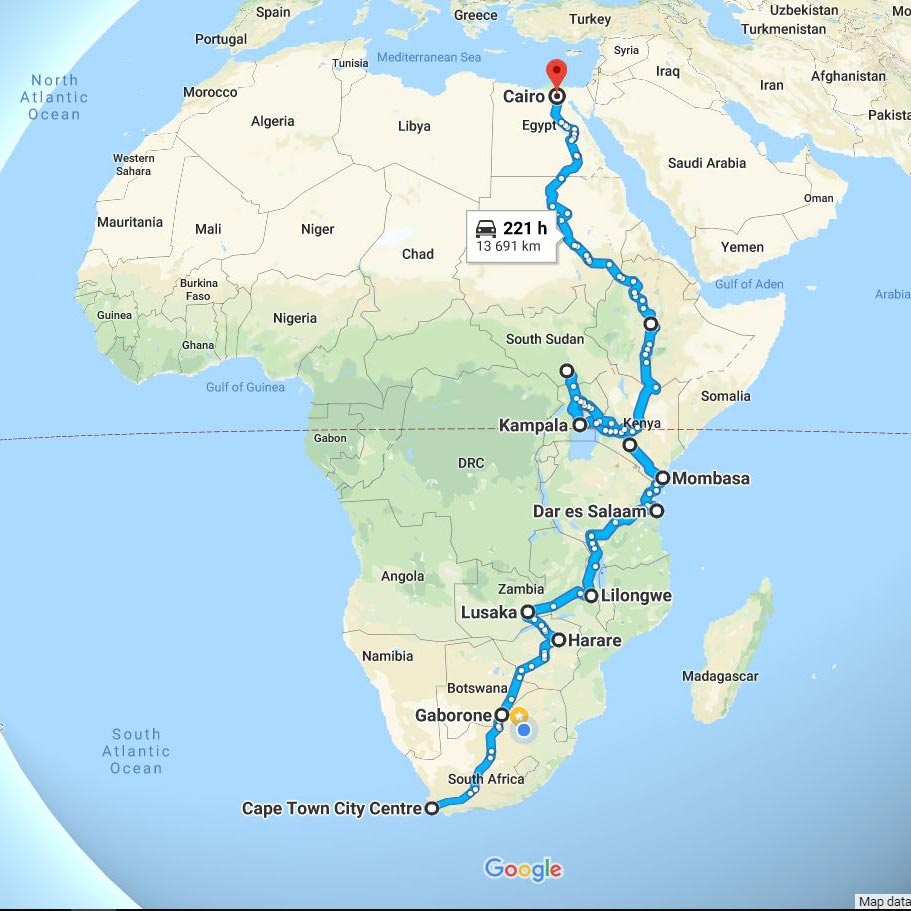 Road map Cape to Cairo